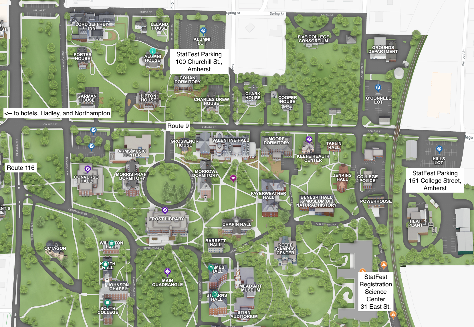 Amherst College Campus Map Travel and logistics information